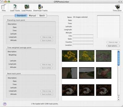 Bildauswahl und Einstellungen bei GPS PhotoLinker