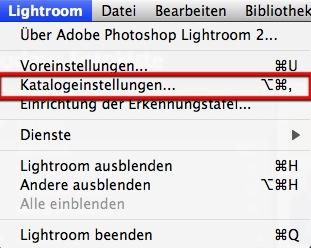 Lightroom Katalogeinstellungen aufrufen