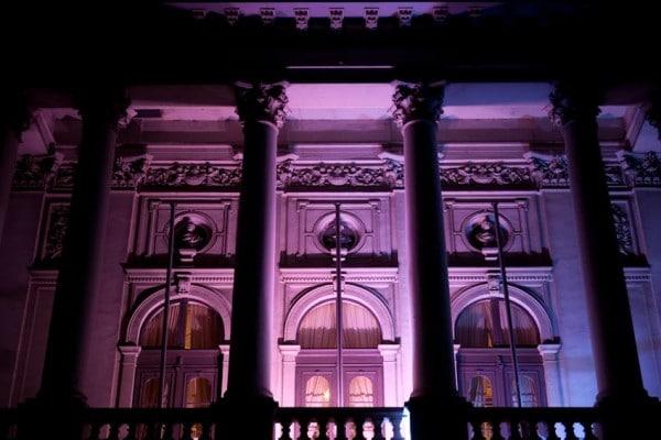 Staatstheater Oldenburg Balkon bei Nacht