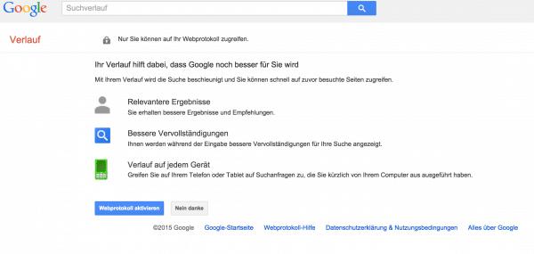 Google Suche Verlauf der Vergangenheit