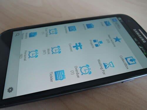 IQTELL App Homescreen - alle Bereiche von GTD® im leichten Zugriff.