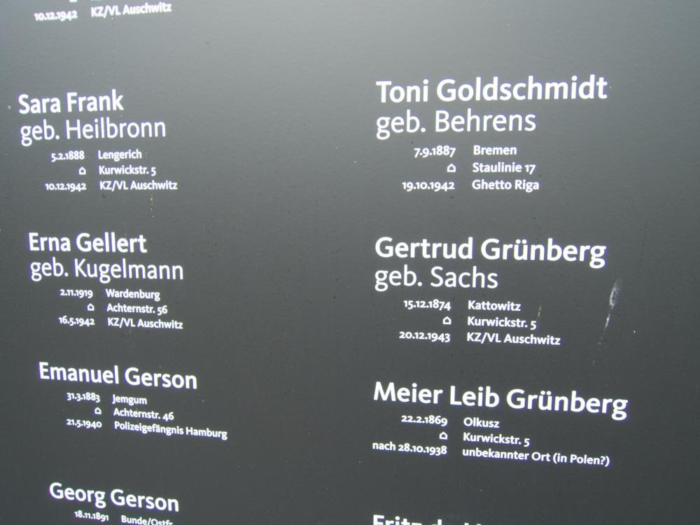 Gedenktafel an die ermordeten Oldenburger Juden aus der NS-Zeit an der Peterstraße