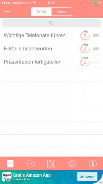 Pomodoro Timer für iOS (iPhones)