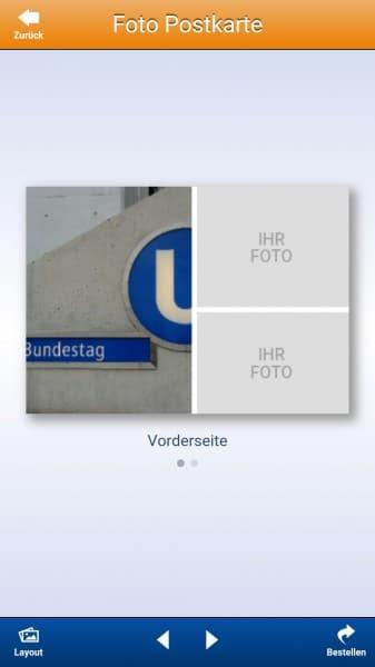 Die freie Gestaltung der Fotopostkarte von Pixelnet bietet weniger Gestaltungsspielraum als bei CEWE.