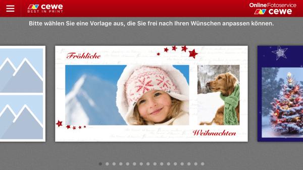 Weihnachtskarten mit der Postkarten-App von CEWE