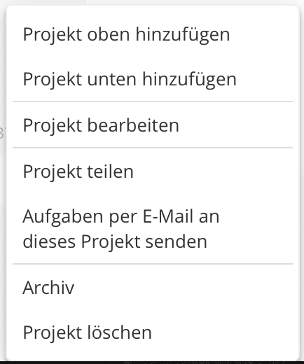 Projekt in Todoist einstellen